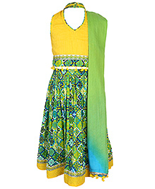 Exclusive from Jaipur Sleeveless Choli And Lehenga With Dupatta - Green Yellow