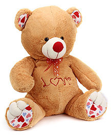 Playtoons Teddy Bear With Love Print Brown - Height 26 Inches