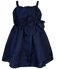 Babyhug Singlet Party Wear Frock Bow Applique - Navy Blue
