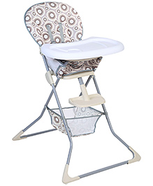 High Chair With Storage Basket Grey And White - HC-61
