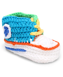 Jute Baby Handmade Crochet Booties Star Design - White Green Blue