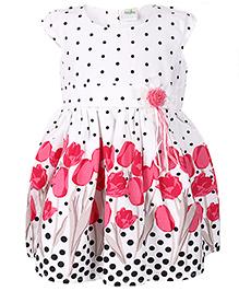 Babyhug Short Sleeves Frock Dots And Rose Print - White