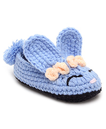 Jute Baby Slip On Handmade Crochet Booties Applique - Sky Blue And Black