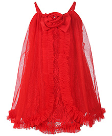 Babyhug Singlet Party Frock Net Overlay And Flower Bow Detail - Red