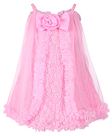 Babyhug Singlet Party Frock Net Overlay And Flower Bow Detail - Pink