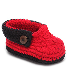 Jute Baby Slip-On Handmade Crochet Booties Belt Design - Red And Black