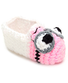 Jute Baby Slip-On Handmade Crochet Booties Eyes Design - White And Pink
