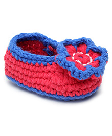 Jute Baby Slip-On Handmade Crochet Booties Floral Applique - Blue Pink