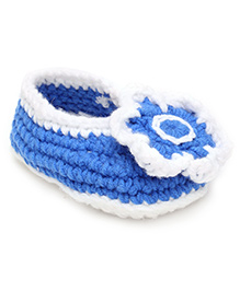 Jute Baby Slip-On Handmade Crochet Booties Floral Applique - Blue White