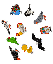 Skillofun Wooden Magnetic Cutouts Birds Set Of 10 - Multi Color