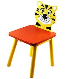 Skilloffun Wooden Chair Tiger Design - Yellow And Orange