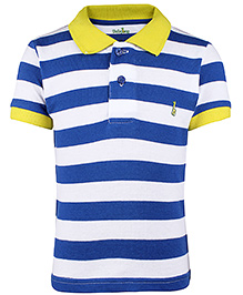 Babyhug Collar Neck T-Shirt Stripes  - Blue And White