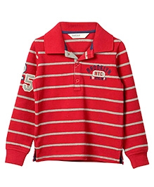Beebay Yarn Dyed Striped Polo T-Shirt 25 Badge - Maroon