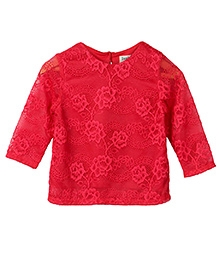 Beebay Full Sleeves Embroidered Net Top - Red