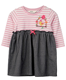 Beebay Full Sleeves Jersey Frock Sparrow Embroidery - Pink Black
