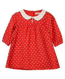 Beebay Full Sleeves Frock Heart Print - Red