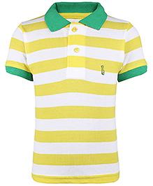 Babyhug Collar Neck T-Shirt Stripes - Yellow And White