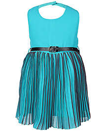 Babyhug Sleeveless Party Frock With Belt Pleated Pattern - Sky Blue