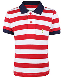 Babyhug Collar Neck T-Shirt Stripes - Red And White