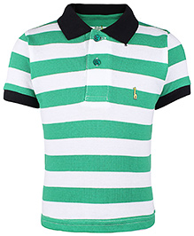 Babyhug Collar Neck T-Shirt Stripes - Green And White
