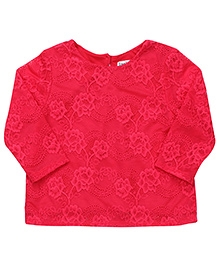 Beebay Full Sleeves Party Wear Net Embroidered Top - Red