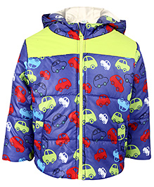 Babyhug Full Sleeves Hooded Jacket Car Print - Purple