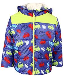 Babyhug Full Sleeves Hooded Jacket Car Print - Purple