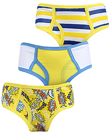 Babyhug Printed Briefs Pack Of 3 - Yellow Blue And White