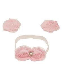 NeedyBee Barefoot Sandals And Headband Combo Set - White And Pink