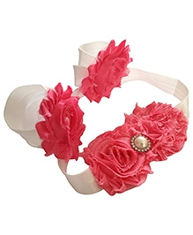 NeedyBee Barefoot Sandals And Headband Combo Set - White And Fuchsia Pink