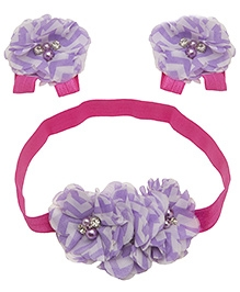 NeedyBee Barefoot Sandals And Headband Combo Set - Purple White And Pink