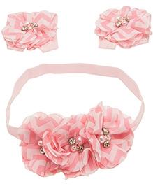 NeedyBee Barefoot Sandals And Headband Combo Set - Pink And White
