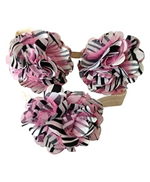 NeedyBee Barefoot Sandals And Headband Set With Rosette - Pink Black
