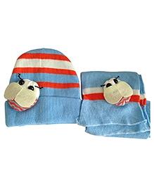 NeedyBee Woolen Scarf And Cap Set Bettle Motif - Sky Blue Orange White