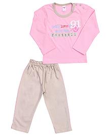 Paaple Full Sleeves Night Suit Football Print - Pink