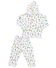 Ollypop Hooded T-Shirt And Leggings Set Multi Print - White
