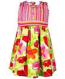 Babyhug Sleeveless Frock Floral Print - Green And Pink