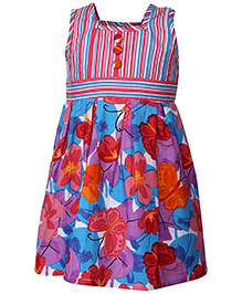 Babyhug Sleeveless Frock Floral Print - Multicolour