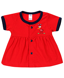 Paaple Short Sleeves Frock Giraffe Embroidery - Red
