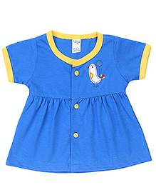 Paaple Short Sleeves Frock Bird Embroidery - Royal Blue