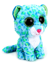 Beanie Babies Leona Leopard Soft Toy Blue And Green - Height 6 Inch