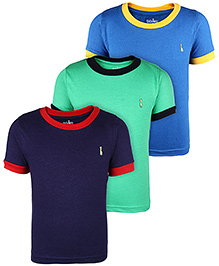 Babyhug Half Sleeves Round Neck T-Shirt Pack Of 3 - Navy Green Blue