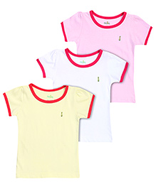 Babyhug Short Sleeves T-Shirts Pack Of 3 - Pink White Yellow