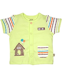 FS Mini Klub Half Sleeves Front Open Vest - Lime Green