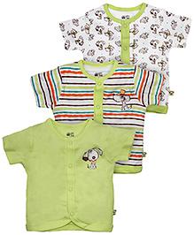 FS Mini Klub Front Open Cotton Vests Set of 3 - Multi Color