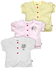 FS Mini Klub Front Open Cotton Vest Pack Of 3 - Multi Color
