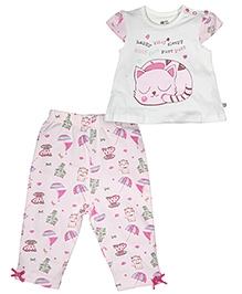 FS Mini Klub Short Sleeves Night Suit Kitty Print - White And Pink