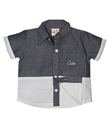 FS Mini Klub Half Sleeves Shirt Embroidery- Grey And Off White