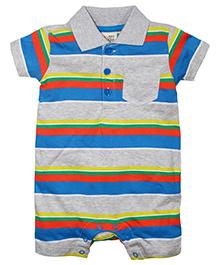 FS Mini Klub Short Sleeves Romper Stripe Pattern - Blue
