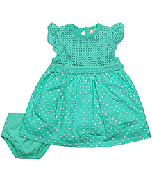 FS Mini Klub Flutter Sleeves Dress With Bloomer Lace Pattern - Mint Green